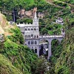 Die Wallfahrtskirche Las Lajas. Sie liegt wirklich grandios in der Schlucht.