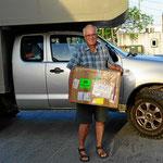 Es ist vollbracht - nach 4 Wochen Fedex-Blitzransport haben wir das Paket.