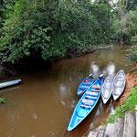 Der Bootsanlegesteg. Im Laufe der 5 Tage ist der Guyabeno Fluss immer kleiner geworden, da es nicht geregnet hat.