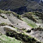 Auch hier wieder - Indioland mit Feldern an steilen Berghängen.