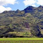 Wiesen und Felder bis zu den Bergspitzen hoch.