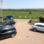 Parkplatz vor dem Haus, Blick auf die Wiesen