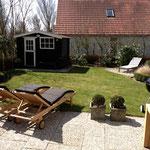 Vue zur le jardin de la porte patio
