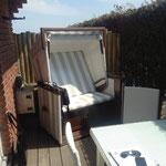 Chaise de plage sur la terrasse sud
