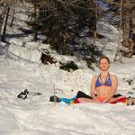 Assise au lever du soleil - mars 2015 - Vétan, Alpes italiennes
