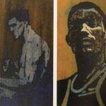 Boxer 1 et boxer 2, gouache sur papier, 38x67 cm