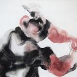 BIEN EN MAINS, papier, gouache crayon 41x55 cm