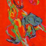 COMME TON CORPS EST FETE, Papier gesso acrylique pastel fusain crayon 59x42cm