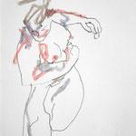 AU DESSUS DE L'OBSTACLE, papier  crayon pastel gras 29x21 cm