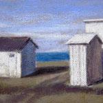 Les petites cabanes, pastel sur toile de lin, 40x70