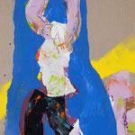 Le ciel à portée de mains, toile : huile, fusain, pastel gras -130 x 90