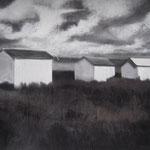 VENDU - Les cabanes, pastel et fusain, 92x123