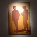 Rencontre dans un paysage, huile sur toile, 130x200 cm