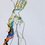 VERTTIGE 7, papier crayon  pastel gras 30 x 21 cm