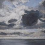 VENDU - Longs nuages, peinture acrylique,  30x60 cms