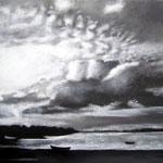 Nuit dans le Golfe, fusain et pastel, 73x93