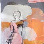 Dessin, sans titre , collage craie et encre sur papier, 28x38 cm