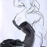 ANTICIPATION, papier pierre noire, pastel, gouache 59x42 cm