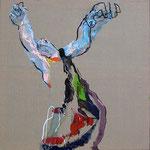 Les échos de l'âme, toile, huile, pastel gras, fusain - 81 x 60