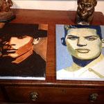 Série, portrait de 7 hommes, portrait d'homme 4 et 5, huile sur toile, 30 x40 cm