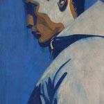 Série de 6 portraits d'homme, Portrait d'homme 1, gouache sur papier, 38x67 cm