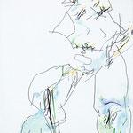 A cloche Pieds, papier, fusain, crayon de couleur - 58 x 42