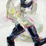 Le Visigoth, bois, acrylique, pastel mixte – 80 x 80