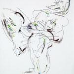 EN AVOIR LE SOUFLE COUPE, papier crayon fusain crayon de couleur 58x42 cm