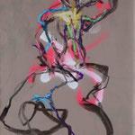 SOUS TON FEU ARDENT, Papier fusain pastel graphite aerosol acrylique 59x42cm