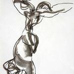 SARABANDE, papier fusain  pierre noire 59x42cm