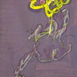 COMME TA TETE EST FETE, papier gouache pastel gras crayon 30x28cm