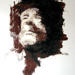 Borges- masque, sérigraphie sur papier BFK Rives, 300gr,à 5 teintes, tirage à 3 ex.,encadré et marouflé sur bois (sans vitre), 80x100 cm