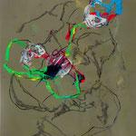 SAISIR LA FAILLE, papier, gesso, acrylique, pastel, graphite, pierre noire - 70 x 50 cm