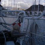 julgrisen på fördäck i Puerto de Mogan