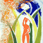 """""""Elemente"""", Linoldruck auf Seidenpapier, 40 x 30"""