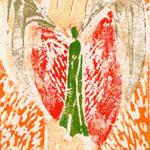 """Engel"",  Linoldruck auf Seidenpapier,  40 x 30"