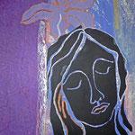 """""""Meditation"""" Linol- und Materialdruck auf Seidenpapier, 60 x 40"""