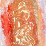 """""""Akt"""",  Linoldruck, 40 x 30"""