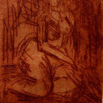 sitzender akt | radierung 7x9cm