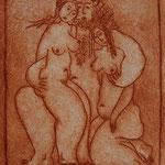 faun und mädchen | radierung 11x15cm