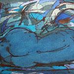 blauer rückenakt | öl auf papier 23x40cm