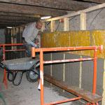 Après 10min de prise les banches peuvent être remontées et à nouveau remplies.