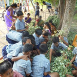 Students selling leaves for the Dashera Festival