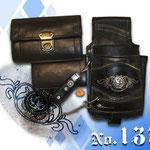 Geldbeutel und Halter handgemacht schwarz in schwarz bestickter Hosenträger von Trachtenlederhosen Kaiser Tracht München