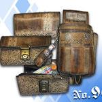 Geldbörse mit Halter Bayern antik rustikal Straußenleder Imitat Kaiser Tracht München