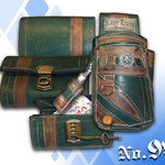 Kellnergeldbeutel Flaschengrün mit braun Old Style rustikal Berggasthof Kaiser Tracht München