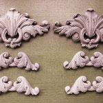 Резные деревянные элементы декора для стен, шкафов и каминов. Материал: орех.
