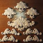 Резные деревянные элементы декора для стен, шкафов и каминов. Материал: липа.