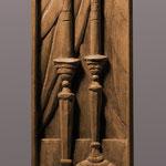 """Резные вставки из ореха с миниатюрами, изображающие свечи на праздничном столе в честь дня Шаббат. Выполнены для часов """"Шаббат"""" http://www.konstantin-chaykin.com/ Резьба по дереву Байкова Михаила."""