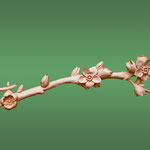 Ветка яблони. Резной деревянный элемент для картинной рамы.  Материал: липа. Мастер-резчик Байков Михаил.